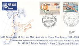 (JJ 26) Australia - 2 Covers - 50th Anniversary Of 1st Air Mail From Australia To Papua New Guinea - Primi Voli