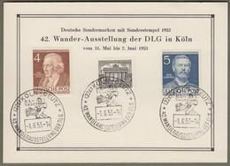 "Berlin: Sonderkarte Mit Mi.-Nr. 42, 91, 92 SST: "" Wander-Ausstellung Der DLG Köln 1953 "" !   X - Cartas"