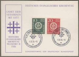 """Berlin: Sonderkarte Mit Mi.-Nr. 138-39 SST: """" Evangelischer Kirchentag Frankfurt A. M. 1956 """" !   X - Storia Postale"""
