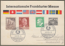 "Berlin: Sonderkarte Mit Mi.-Nr. 42, 94, 106 U. Bund 209 SST: "" Internationale Frankfurter Messe 1955 "" !   X - Cartas"
