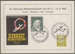 """Bund: Sonderkarte Mit Mi.-Nr. 177 U. 204 SST: """" 21. Eishockey-Weltmeisterschaft 1955 """" !      X - Lettres & Documents"""