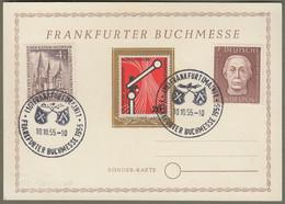 "Bund: Sonderkarte Mit Mi.-Nr. 200, 219 U. Berlin 106 SST: "" Frankfurter Buchmesse 1955 "" !      X - Lettres & Documents"
