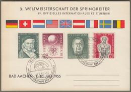 """Bund: Sonderkarte Mit Mi.-Nr. 201, 204, 214 U. Berlin 119 SST: """" Weltmeisterschaft Der Springreiter 1955 """" !      X - Lettres & Documents"""