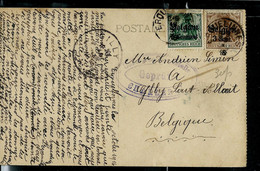 Carte-vue (Anvers)  Obl. Erquelinnes 1916 + Censure Charleroi  Pour Gilly - [OC1/25] General Gov.