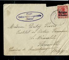 Enveloppe (entière) Obl. Namur  + Obl. Post-Ueberwachungsstelle Namur En Mauve) - [OC1/25] General Gov.