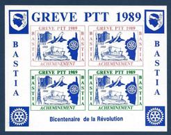France Timbres Bloc De Grève En Corse Bastia 1989 Bicentenaire De La Revolution TGV Concorde Fusée TTB - Grève