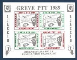 France Timbres Bloc De Grève En Corse Numéroté 0642 Ajaccio 1989 Bicentenaire De La Revolution TGV Concorde Fusée TTB - Grève