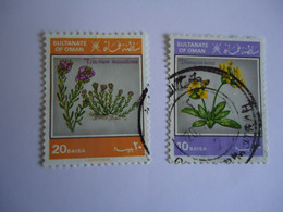 OMAN    USED   STAMPS 2 FLOWERS - Oman