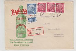 R-Brief Mit Zudruck Von RYKEN?? Seehund Von Der Grosshandlung NORDEN 10.6.55 Hübscher Brief - Lettres & Documents