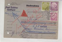 Nachnahmekarte Mit 177, 179, 188 Aus (14) REUTLINGEN 5.7.54 Nach Michelbach über Gaggenau - Cartas