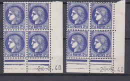 Cd515 YvT 375A Ceres Modifié 2f50 Ouremer 2 Cd Date 28/05/40 Tirage 1ère Planche A+A N* - 1940-1949