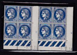 Cd519 YvT 372 Ceres Modifié 1f75 Bleu 2 Cd Date 03/11/38 4ème Tirage A+B N** - 1930-1939