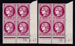 Cd523 YvT 376 Ceres Modifié 3f Lilas Rose 2 Cd Date 28/03/41 1er Tirage 3ème Planche  E+E N** - 1940-1949