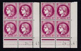 Cd524 YvT 376 Ceres Modifié 3f Lilas Rose 2 Cd Date 24/07/41 2ème Tirage 3ème Planche  E+E N** - 1940-1949