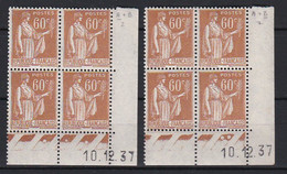 Cd4322 YvT N 364 Paix 60c Bistre 2 Coins Datés 10/12/37 2ème Tirage A+B N** - 1930-1939