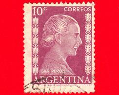 ARGENTINA - Usato - 1952 - Evita Perón (1919-1952) - 10 - Oblitérés