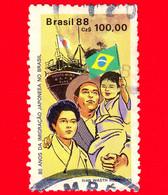 BRASILE - Usato - 1988 -  80 Anni Dell'immigrazione Giapponese In Brasile - 100.00 - Oblitérés