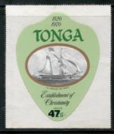TONGA 1980 47$ CHRISTIANITY, SAILING SHIP ODD SHAPED DIE CUT MNH # 2433 - Tonga (1970-...)