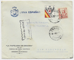 ESPANA 30C+ 10C LETTRE COVER CEGAMA 6 DIC 1937 + VIVA ESPANA TO SAN SEBASTIAN - Emisiones Nacionalistas
