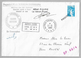 3-TAAF Timbre France 27.9.1980 CROZET-Cachets Marion Dufresne - Signature Du Commandant Et Gérant Postal.OP.80/4 - Briefe U. Dokumente