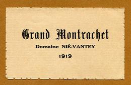 """NUITS-SAINT-GEORGES : """" GRAND MONTRACHET - Domaine NIE-VANTEY """" (1919) - Bourgogne"""