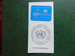 Très Belle Vignette émise Pour L'exposition Philatélique De Nice De 1983 Avec Cachet Des Nations Unies De Genève - Expositions Philatéliques