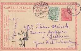 Belgium Uprated Postal Stationery Ganzsache Entier COUILLET 1921 SCHIEREN ETTELBRUCK (Arr.) Luxembourg - Postales [1909-34]