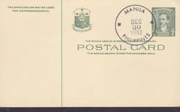 Philippines Postal Stationery Ganzsache Entier 2c. GREEN Dr. José Rizal MANILA 30.12.1952 Blanco Post Card - Philippines
