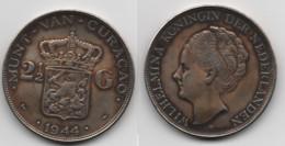 + PAYS BAS     +2 1/2  GULDEN 1944 + ARGENT  +  TRES BELLE . - 2 1/2 Gulden
