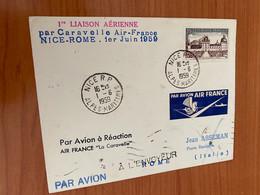 1 Er Vol - Nice / Rome Par Caravelle Air France 1959 - 1927-1959 Brieven & Documenten