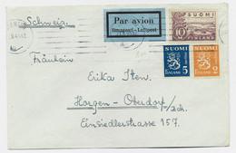 FINLAND 10M+2+5C LETTRE COVER AVION JOENSUU 21.9.1945 TO SUISSE + VIGNETTE AU DOS LASTEN PAIVA BARNENS DAG - Cartas