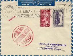 3  Mars 1939- Enveloppe De Beyrouth - 1er Service Aérien BEYROUTH-ATHENES-VARSOVIE - Lettres & Documents