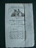 1802 An 11 Chaulage Des Grains Le Préfet Du Département De LOT ET GARONNE  Aux Maires Des Communes AGEN - Documenti Storici
