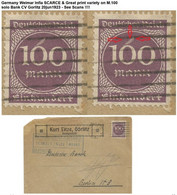 Germany Weimar Infla SCARCE & Great Print Variety On M.100 Solo Bank CV Gorlitz 20jun1923 - See Scans !!!! - Infla