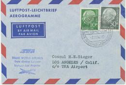 """BUNDESREPUBLIK 1954 Erstflug Mit TWA (Trans World Airlines) """"STUTTGART – LOS ANGELES"""" - Cartas"""