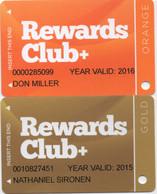 Lot De 2 Cartes : Hooters Casino Hotel Las Vegas : Rewards Club+ Orange & Gold - Casino Cards