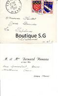Carte De Visite Bernard Pinneau Fils Lesigny Vienne Fouillet Balesmes 1964 Enveloppe - Tarjetas De Visita