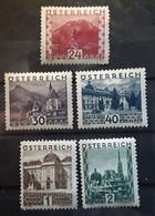 OSTERREICH AUSTRIA AUTRICHE 1929 - 1931 Paysages 5 Timbres Yvert No 383 A,384,385,388,389 Neufs * MH  Cote 56 Euros - Nuevos