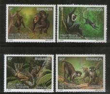 Rwanda 1988 Chimpanzee Primates Monkey Wildlife Animal Sc 1306-9 4v MNH # 1114 - Monkeys