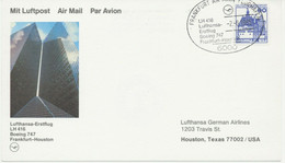 BUNDESREPUBLIK 1985 Erstflug Dt. Lufthansa (LH) M Boeing 747 FRANKFURT - HOUSTON - Lettres & Documents