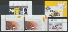 BUNDESREPUBLIK 2001/03, 5 Versch. Postfrische Eckrandstücke - Variétés