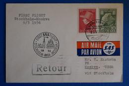 L7 DANEMARK BELLE LETTRE RARE 1956 PREMIER VOL STOCKHOLM POUR MOSCOU  +AFFRANCH INTERESSANT - Briefe U. Dokumente