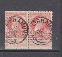 COB 74 En Paire Centraal Gestempeld Oblitération Centrale LIBRAMONT - 1905 Thick Beard