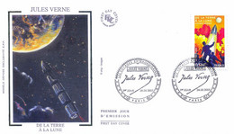 Enveloppe 1er Jour Personnages Célèbres 2005, Jules Verne, De La Terre à La Lune, 2005 (YT 3790) - 2000-2009