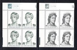 BE   2968 - 2969  XX   ---  Dynastie Belge  --  Blocs De 4 Coin De Feuille  --  Parfait état - Nuevos
