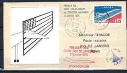 ⭐ France - Premier Vol Par Concorde Air France - Thiaude - Paris / Rio De Janeiro - 1976 ⭐ - Premiers Vols