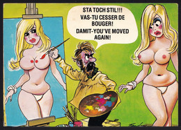 """COMIC Bamforth BA113 - """" DAMIT - YOU MOVED AGAIN - CESSE DE BOUGER """" ARTIST - NAKED WOMAN - BREAST - Humor"""