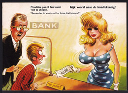 """COMIC TAYLOR - Bamforth B31 - """" LOOK AT THE CHEQUE NOT THE BOUNCING PAIR """" Regardez Le Cheque !!  Bank - BANQUE - Humor"""