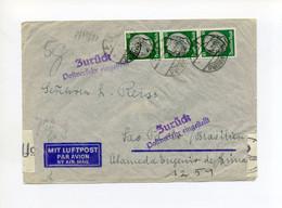 12.1941 2. Reich Zensierter Luftpostbrief Nach Brasilien MeF Mi 525 (3x) Zurück Postverkehr Eingestellt - Covers & Documents
