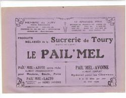 PUBLICITE 1932 SUCRERIE DE TOURY EURE ET LOIR LE PAIL MEL POUR ANIMAUX ET FIDUCIAIRE PIGIER A CHARTRES PLACE DES EPARS - Cars